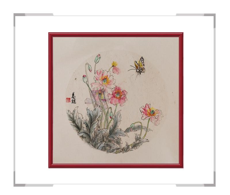 中国美术家协会会员葛琪作品-团扇花鸟画第三款