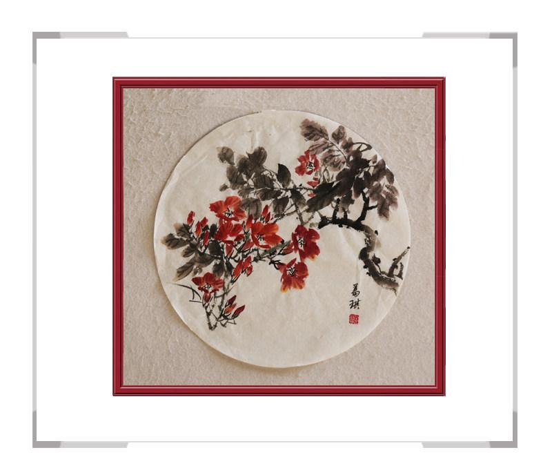 中国美术家协会会员葛琪-团扇花鸟作品一