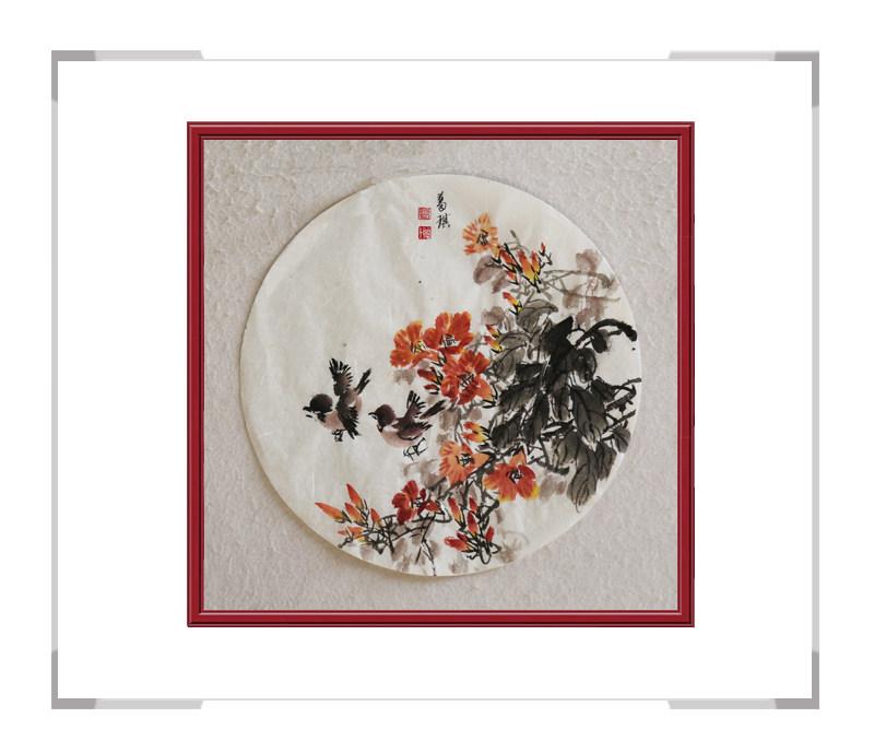 中国美术家协会会员葛琪-团扇花鸟作品二