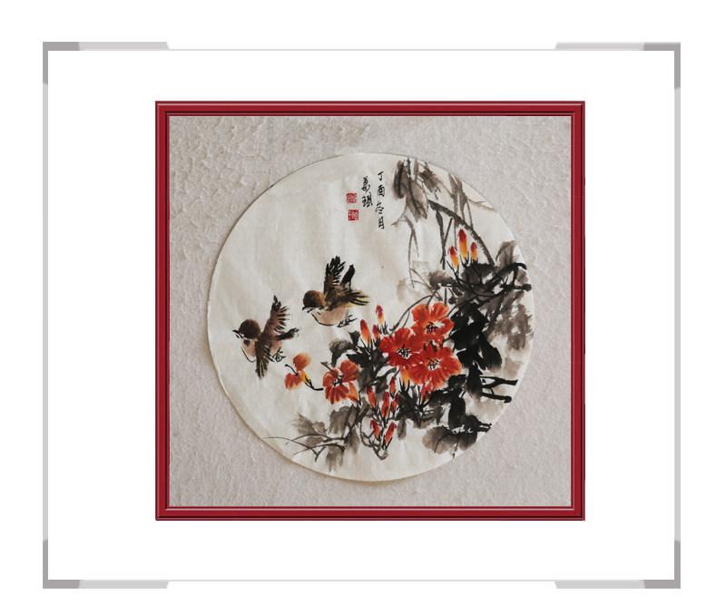 中国美术家协会会员葛琪-团扇花鸟作品三
