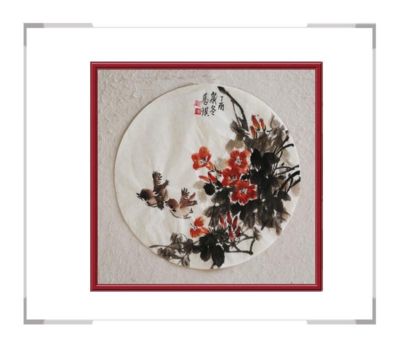中国美术家协会会员葛琪-团扇花鸟画第一款