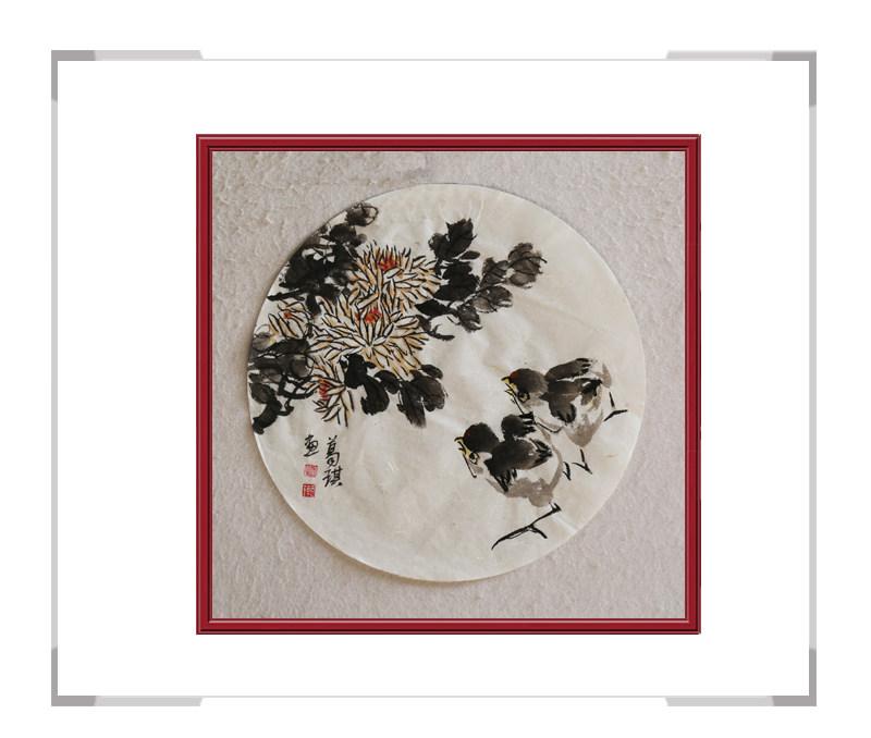 中国美术家协会会员葛琪-团扇花鸟画第二款
