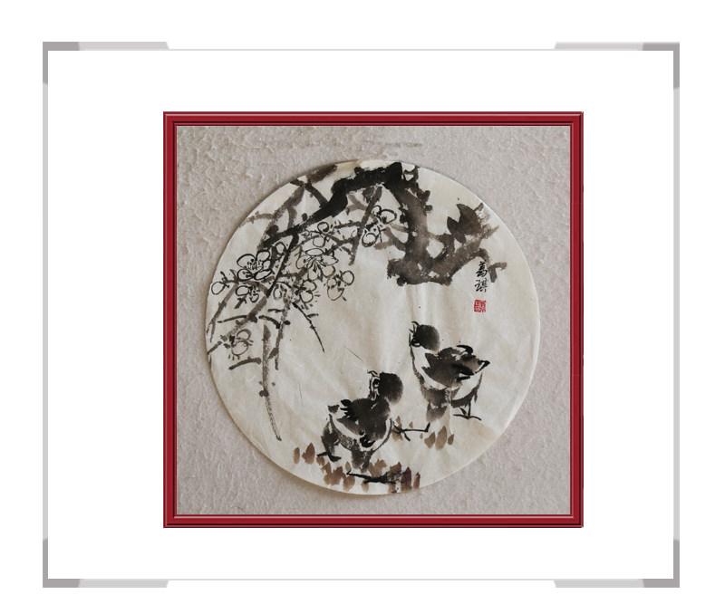 中国美术家协会会员葛琪-团扇花鸟画第三款