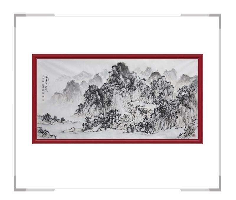 中国美术家协会会员画家季清龙-横幅山水画第一款
