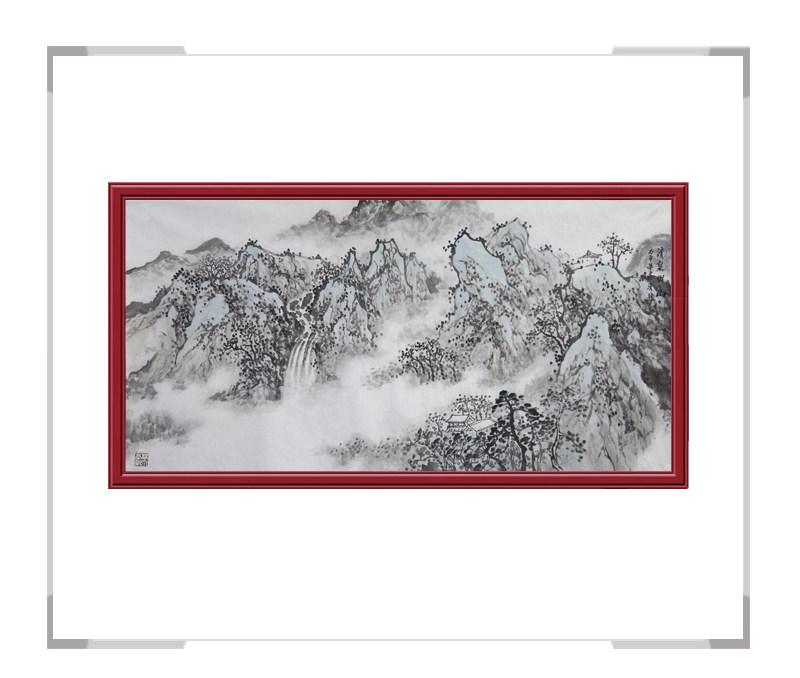 中国美术家协会会员画家季清龙作品-横幅山水画三