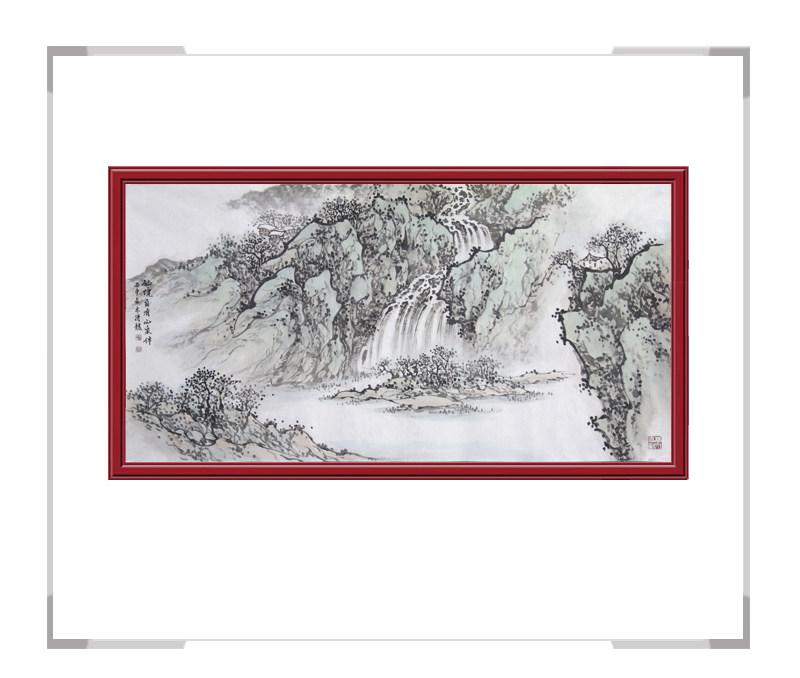 中国美术家协会会员季清龙作品-横幅山水画之仙境一