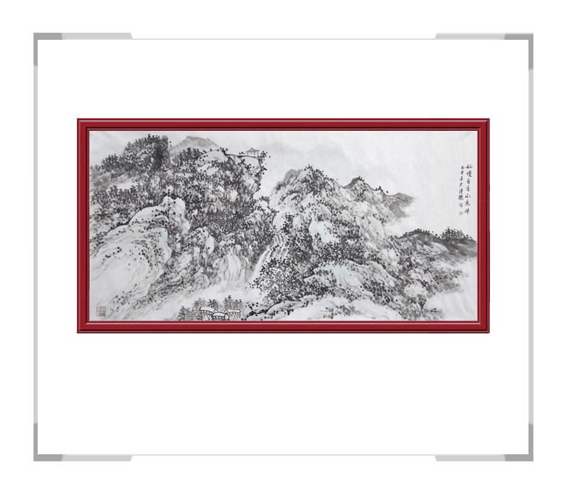 中国美术家协会会员季清龙作品-横幅山水画之仙境二