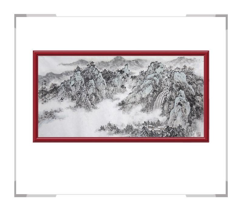 中国美术家协会会员季清龙作品-横幅山水画之仙境三