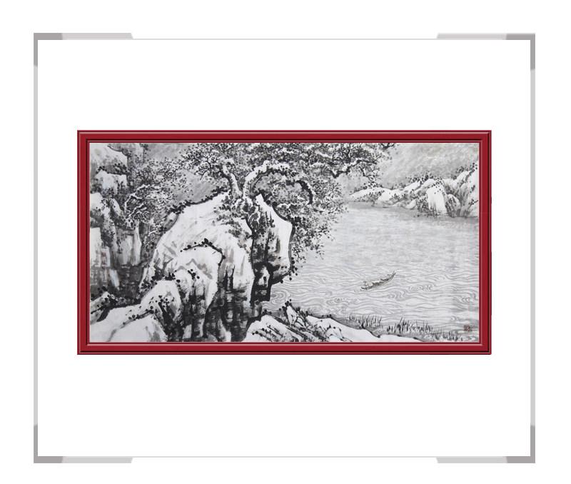 中国美协会员季清龙作品-横幅山水画第一款