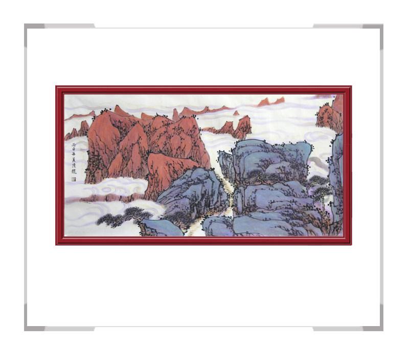 中国美术家协会会员季清龙-山水画横幅第一款