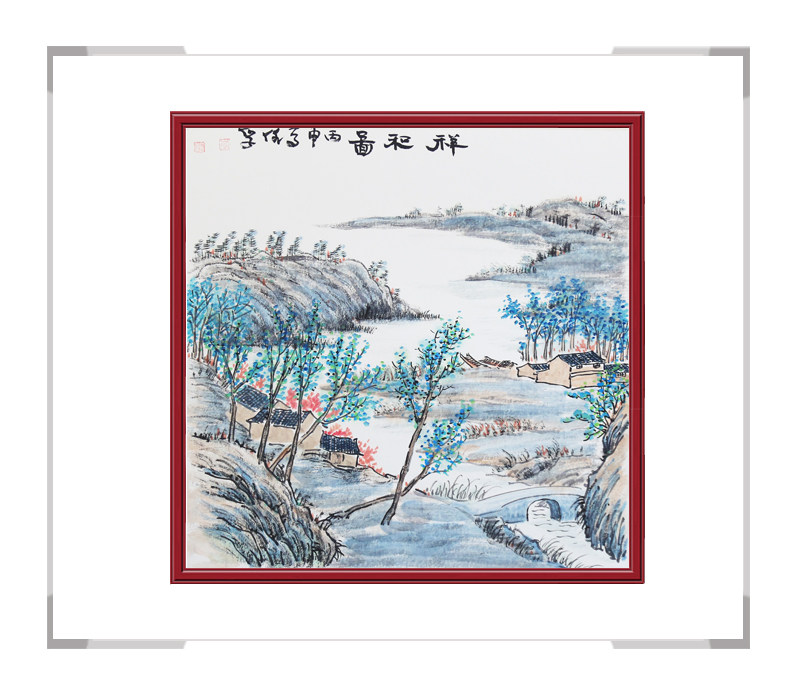 中国美术家协会画家李任孚-斗方山水作品二