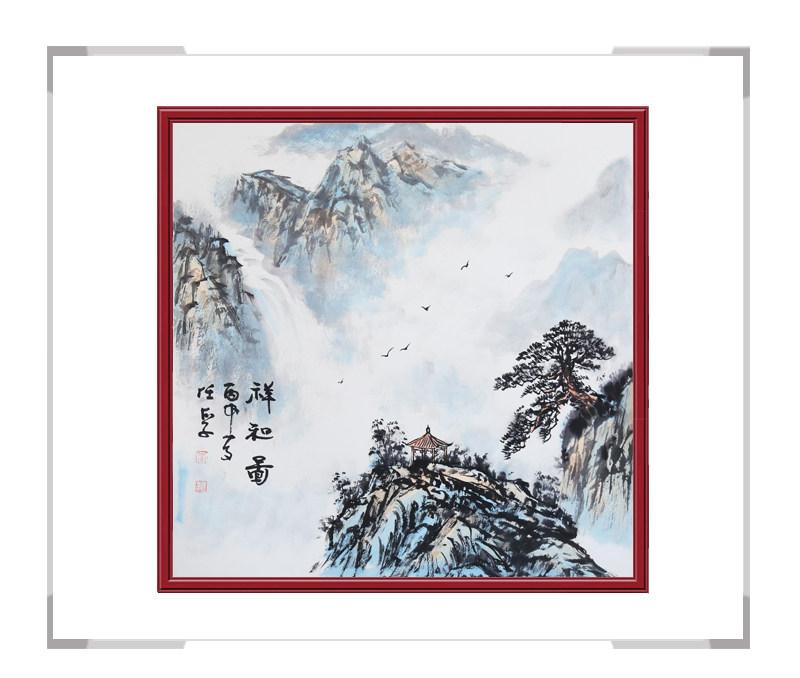 中国美术家协会会员画家李任孚-斗方山水作品二