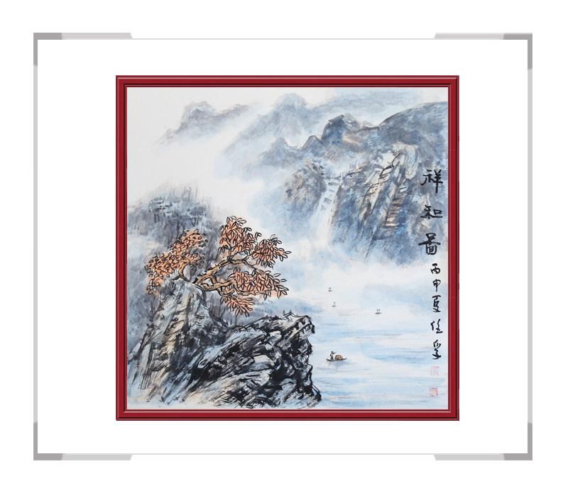 中国美术家协会会员画家李任孚-斗方山水作品三