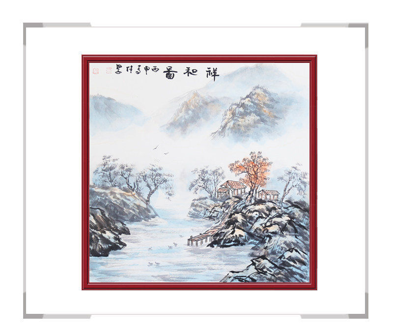 中国美术家协会李任孚-山水画斗方第一款