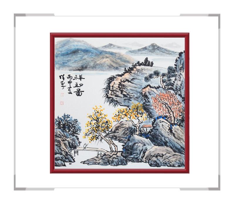 中国美术家协会画家李任孚作品-斗方山水画一