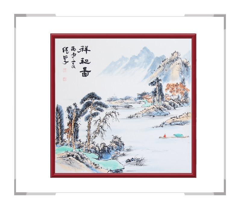 中国美术家协会会员画家李任孚作品-斗方山水画一