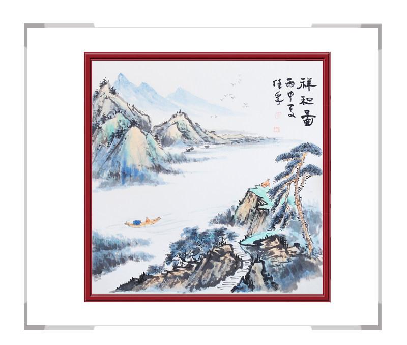 中国美术家协会会员画家李任孚作品-斗方山水画二
