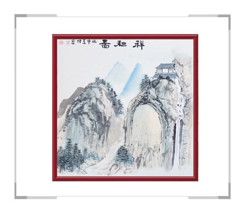 中国美术家协会画家李任孚-山水画斗方第二款