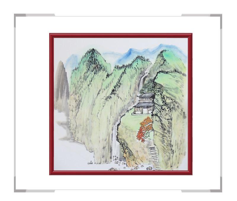 中国美协会员李任孚-斗方山水画作品一