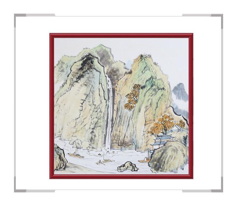 中国美协会员李任孚-斗方山水画作品二