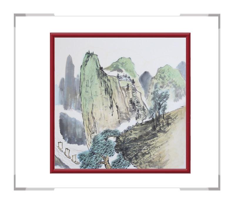 中国美协会员李任孚-斗方山水作品二