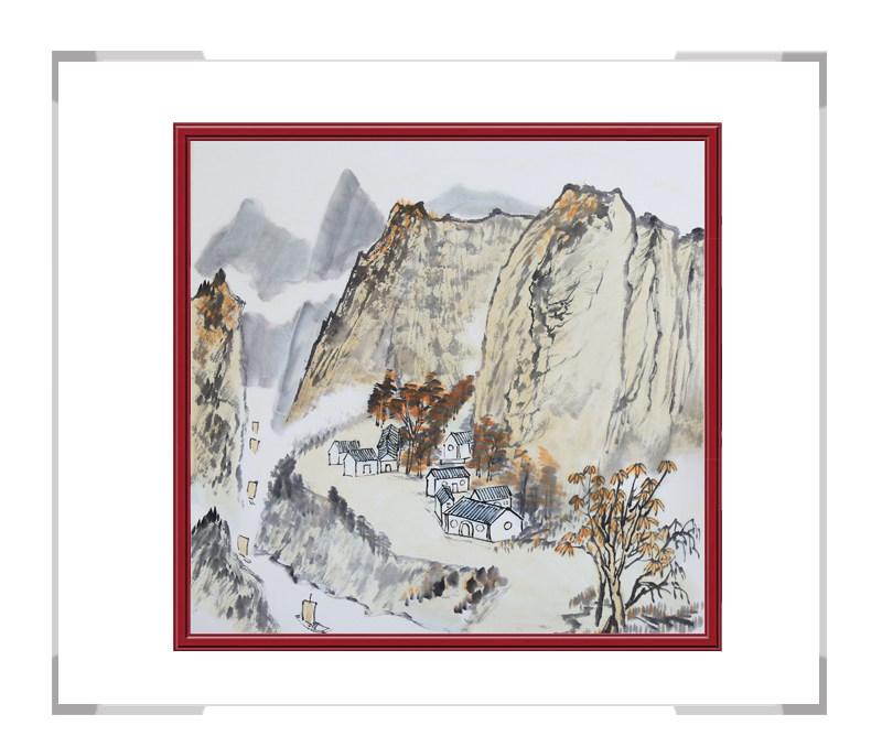 中国美协会员李任孚-山水斗方画第一款