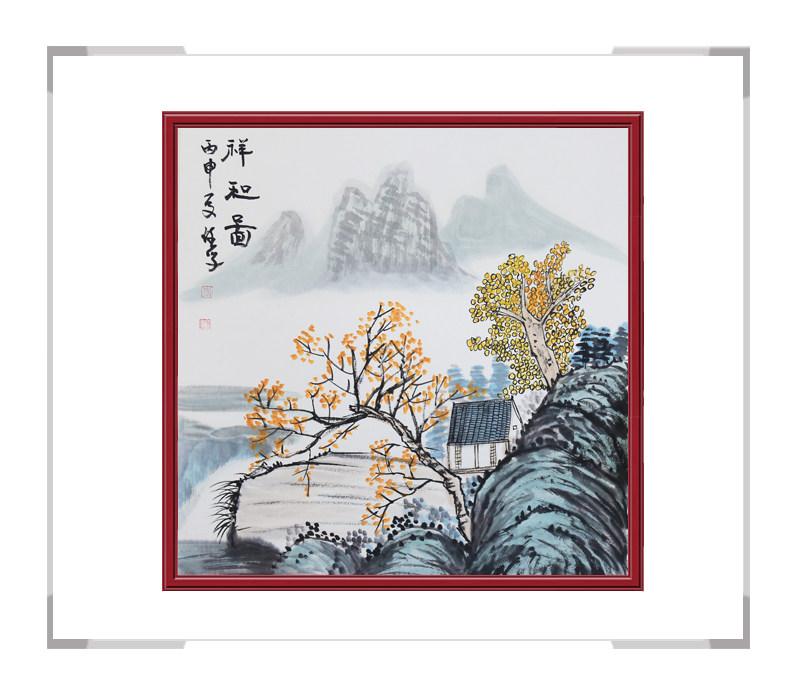 中国美协会员李任孚-山水斗方画作品二