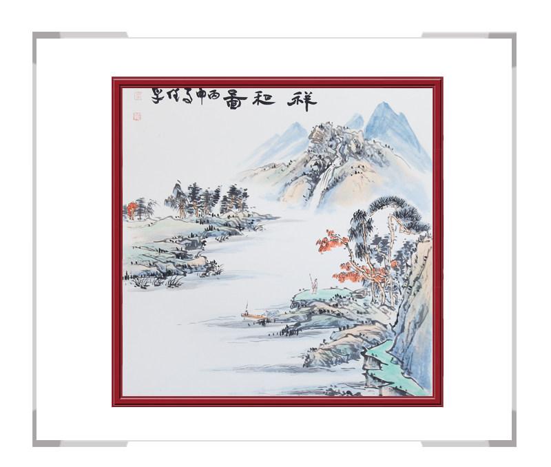 中国美协会员李任孚-山水斗方画作品三
