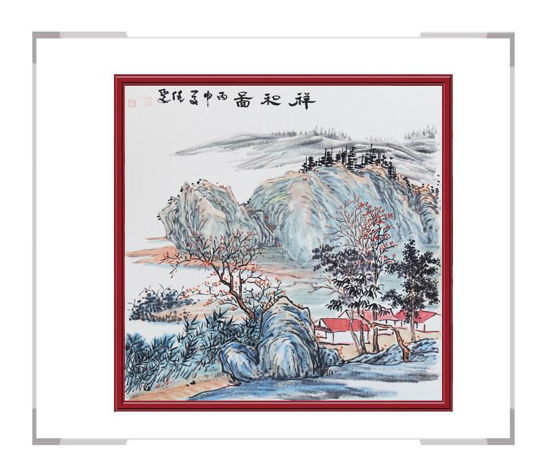中国美协会员李任孚作品-山水斗方画第三款