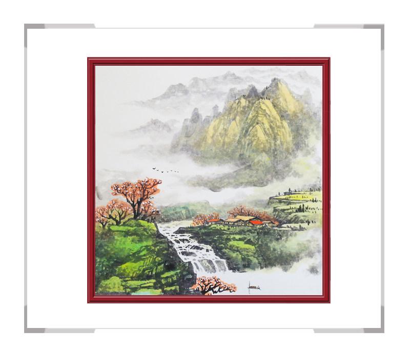 中国美协会员画家李任孚-斗方山水画第二款