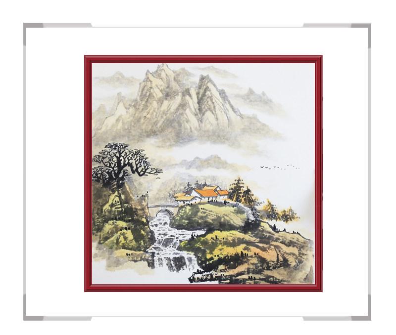 中国美协会员画家李任孚-斗方山水画第三款