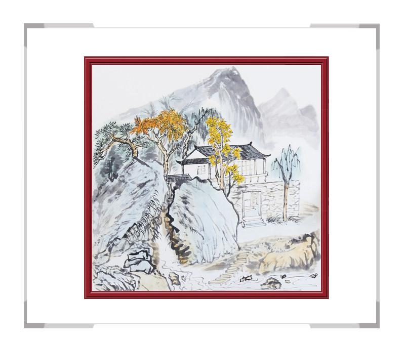 中国美协会员画家李任孚作品-斗方山水画第一款