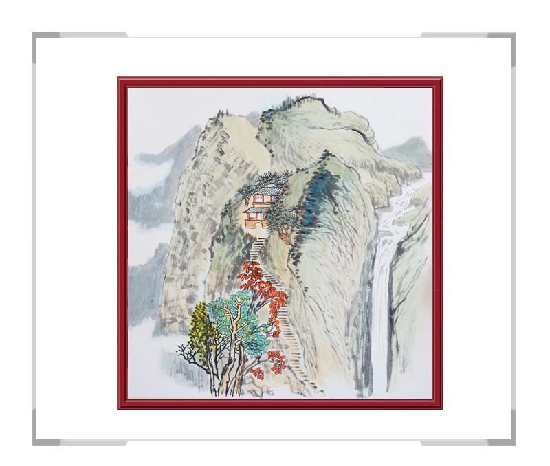 中国美协会员画家李任孚-斗方山水画作品一