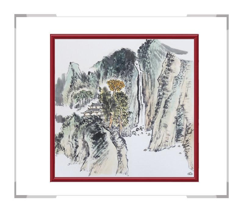 中国美协会员画家李任孚-斗方山水画作品二