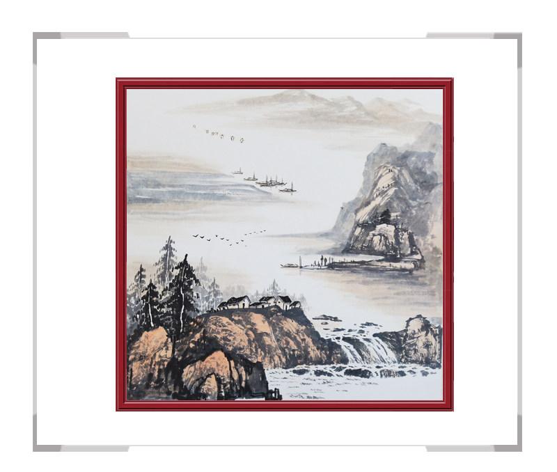 中国美协会员画家李任孚-斗方山水作品一