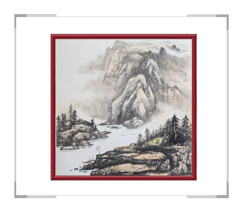 中国美协会员画家李任孚-斗方山水作品二