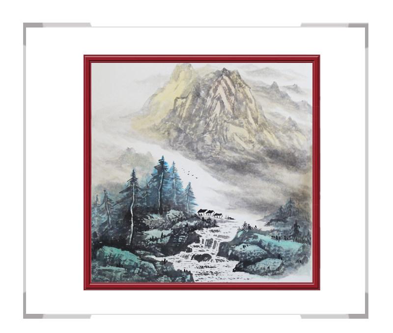 中国美协会员画家李任孚-山水斗方画第一款