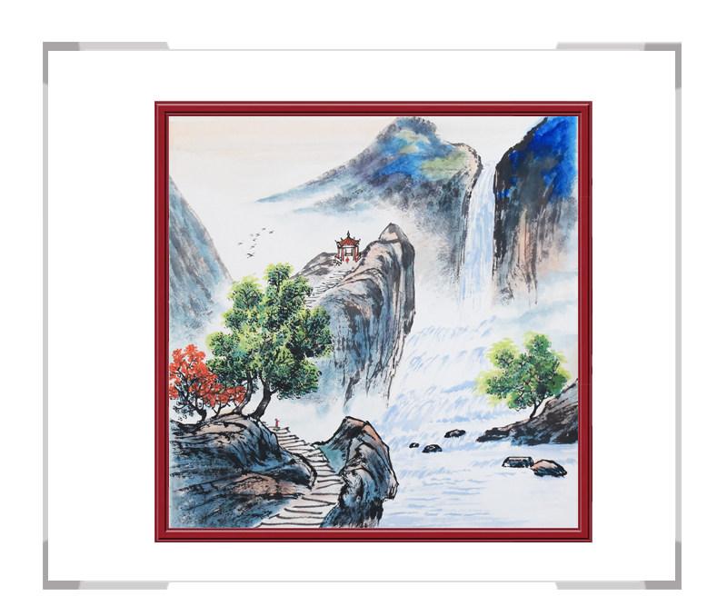 中国美协会员画家李任孚-山水斗方画第二款