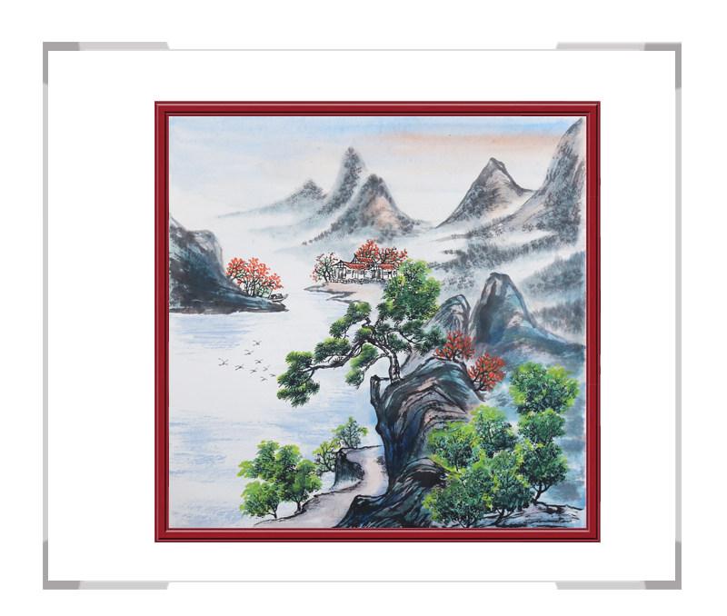 中国美协会员画家李任孚-山水斗方画第三款