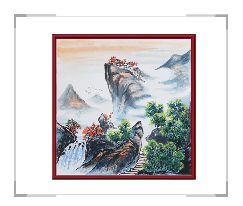 中国美协会员画家李任孚-山水斗方画作品一