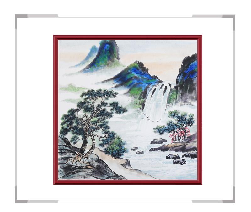 中国美协会员画家李任孚-山水斗方画作品二