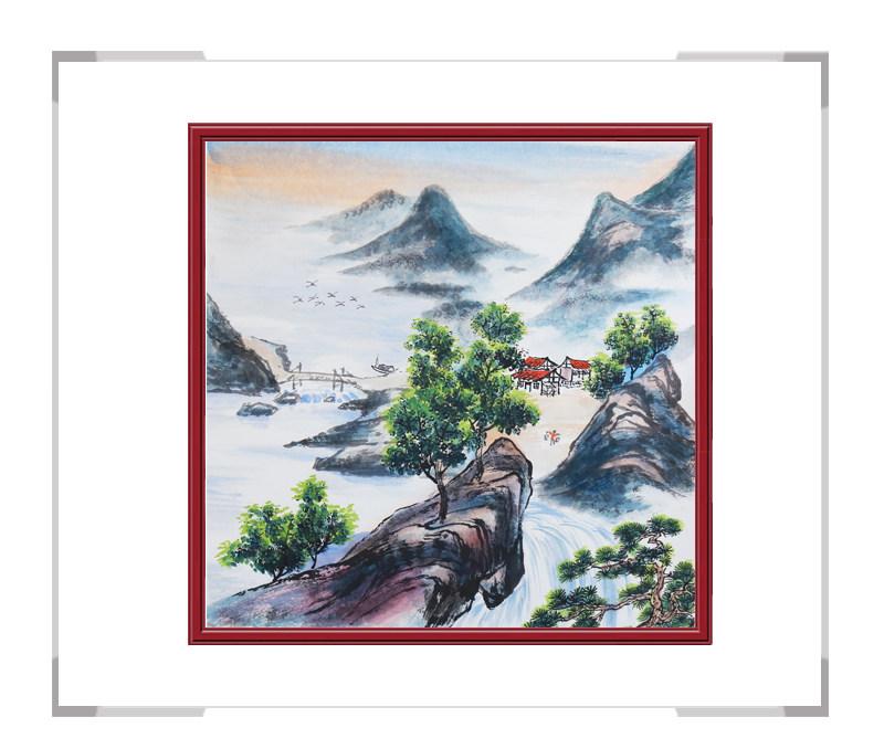 中国美协会员画家李任孚-山水斗方画作品三