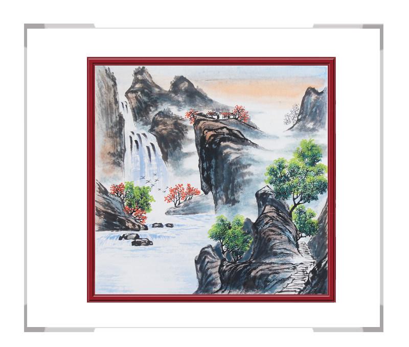中国美协会员画家李任孚作品-山水斗方画第一款