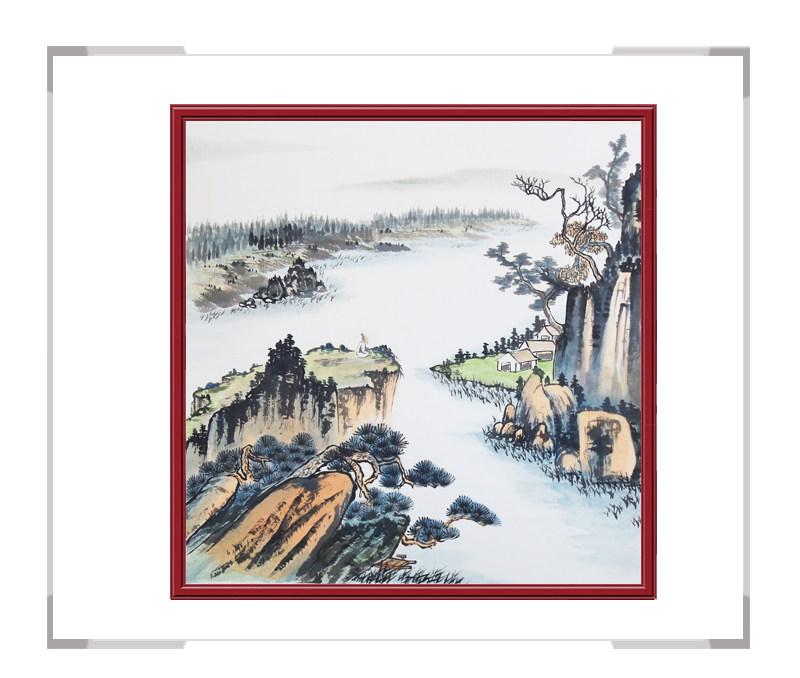 中国美协会员画家李任孚作品-山水斗方画第二款
