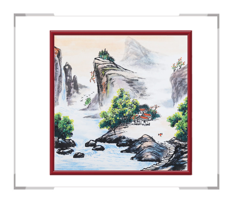 中国美协会员画家李任孚作品-山水斗方画第三款