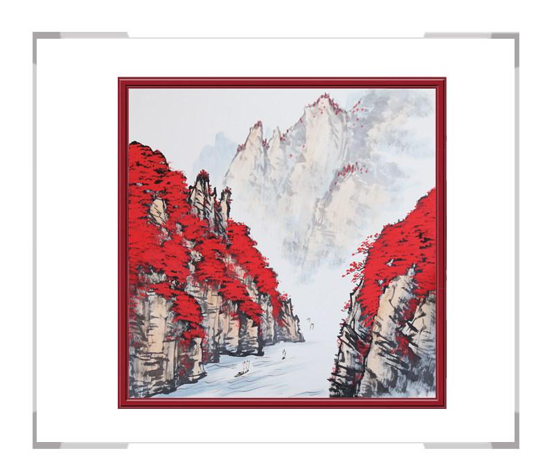 中国美协会员画家李任孚-山水斗方作品一