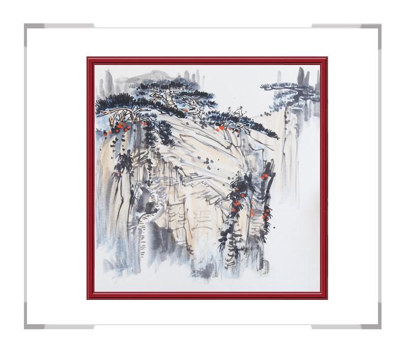 中国美协会员画家李任孚-山水斗方作品二