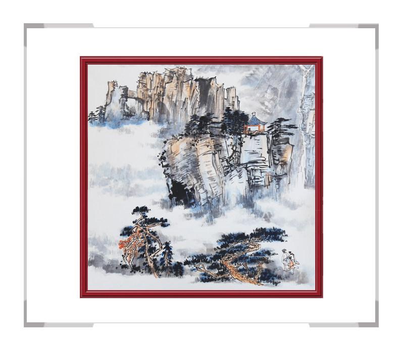 中国美协会员李任孚老师作品-斗方山水画第一款