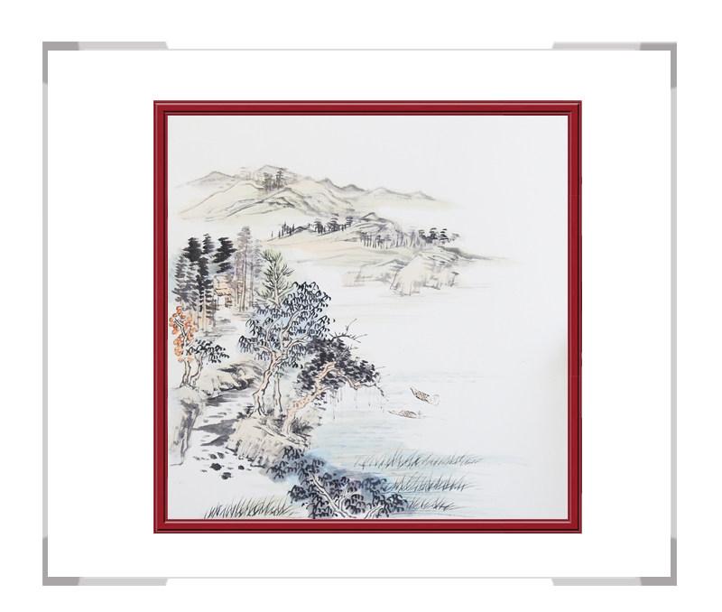 中国美协会员李任孚老师-斗方山水画作品一