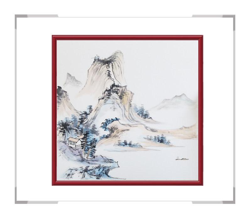 中国美协会员李任孚老师-斗方山水画作品二
